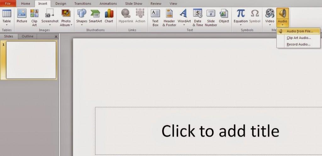 Cách chèn file âm thanh vào PowerPoint 2010